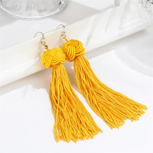 Handmade Tassel Earrings Trendy Black Red Yellow Green Long Dangles Ear Broncos Silk Fringed Jewellery For Women