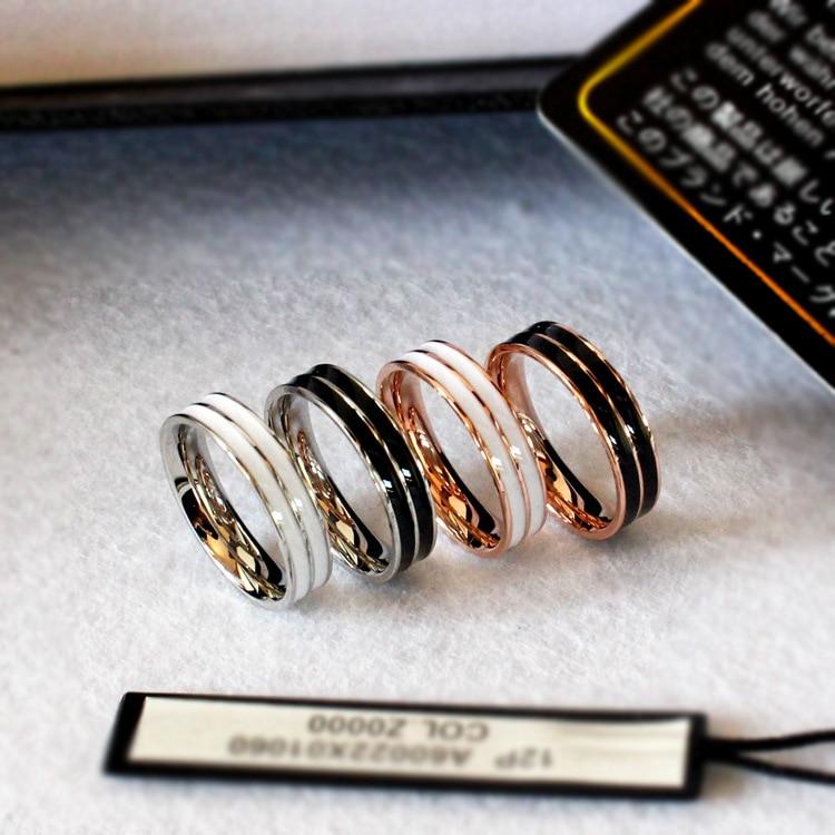 YUN RUO 2017 Rosa Oro Plata Colores Blanco Negro Esmalte Anillo para Mujer Hombre Regalo Joyería de boda Acero inoxidable 316L Nunca se desvanece