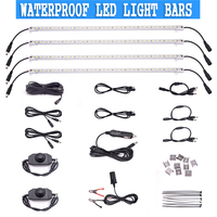 4pcs 12V Rigid Light Bar Waterproof LED Strip Connector Combo Kit Outdoor/Indoor
