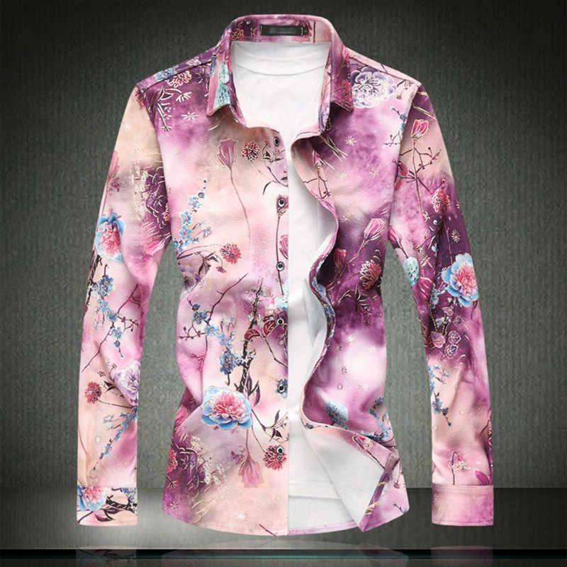 2019 Новая мужская мода цветочный узор рубашка мужские повседневные приталенные Fit с длинными рукавами гавайская рубашка Большой размер одежда 5XL 6XL 7XL