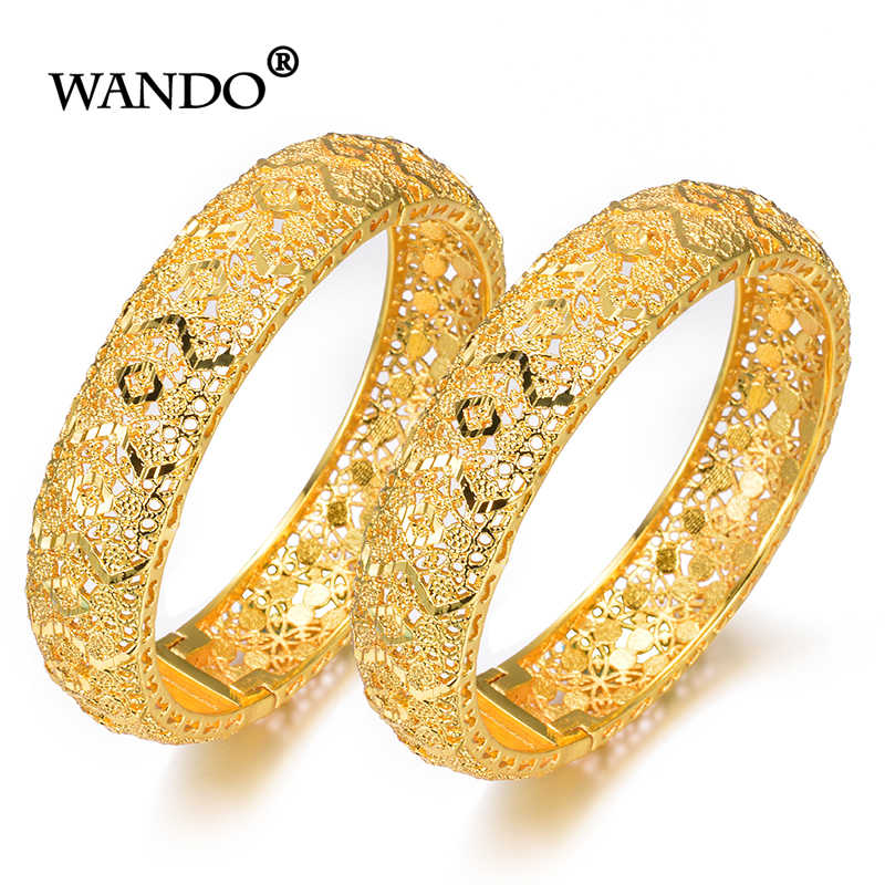 WANDO 2pcs/lot Newest Gold Bracelet for Women Gold Color&Brass,Dubai Bangles Africa Hand Chain Jewelry Ethiopian/Arab Gift b153
