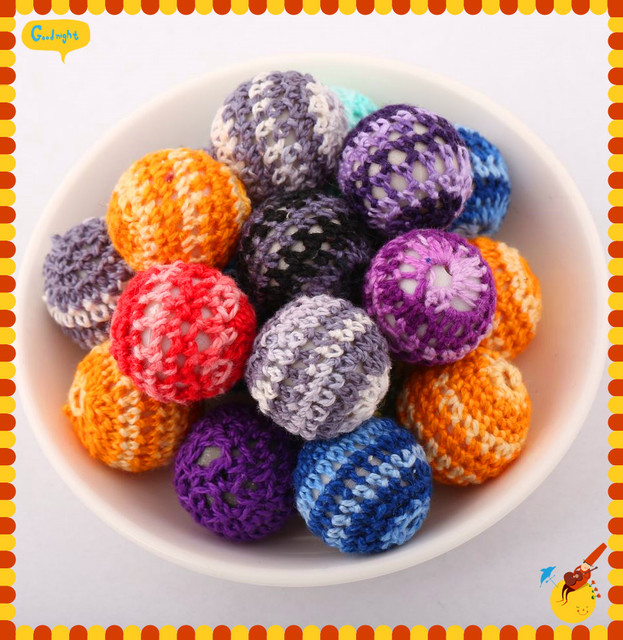 Mixed Color 100PCS 20MM Round Woven Wool Knit Beads Loose For 2015 DIY Chunky Jewelry