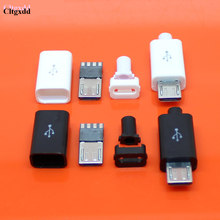 Cltgxdd 4 Pcs = 1 Set Micro USB 4 Pin Konektor Plug Hitam/Putih Las Data OTG Line antarmuka DIY Kabel Data Aksesoris(China)