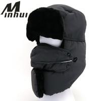 Minhui New Mens Winter Hats Ear Flaps Bone Bomber Russian Hat Casquette Fur Caps Masks Scarf Snow Cap