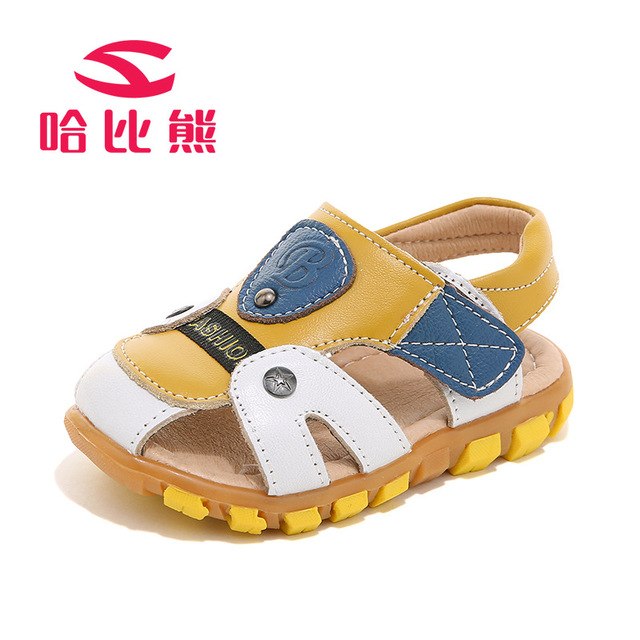 7dcdb791abbc98 Children Sandals Summer Boys and Girls Toe Cap Covering Shoes Genuine  Leather Cowhide Beach Sandal designer toddler sandals