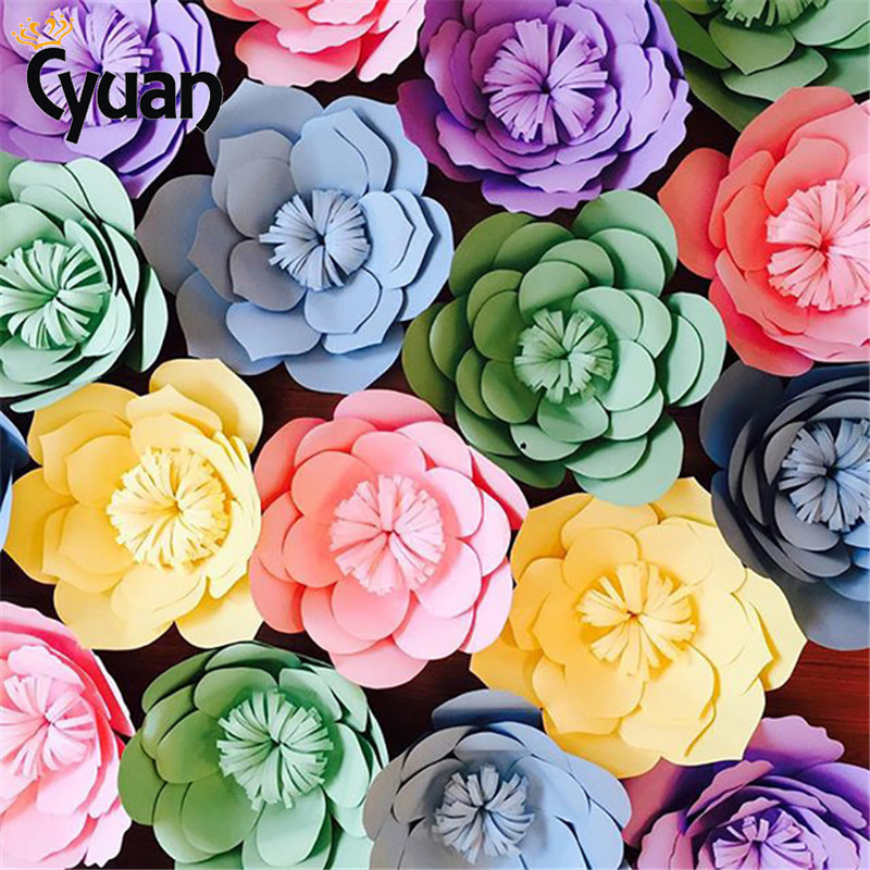 Us 1 51 11 Off Wedding Decoration Paper Flowers Artificial Rose Flowers Diy Crafts Birthday Party Backdrop Wall Room Decor Event Party Supplies In
