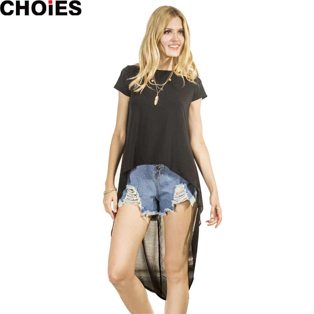 New Women Black Chiffon Patchwork Hi Lo High Low Loose Short Sleeve  NW03