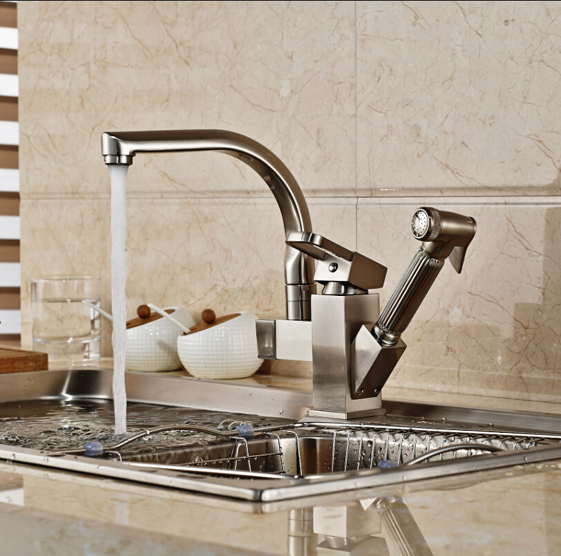 ФОТО Luxury Deck Mount Kitchen Sink Mixer Faucet Single Lever Kitchen Wash Taps with Hot Cold Water Brushed Nickel