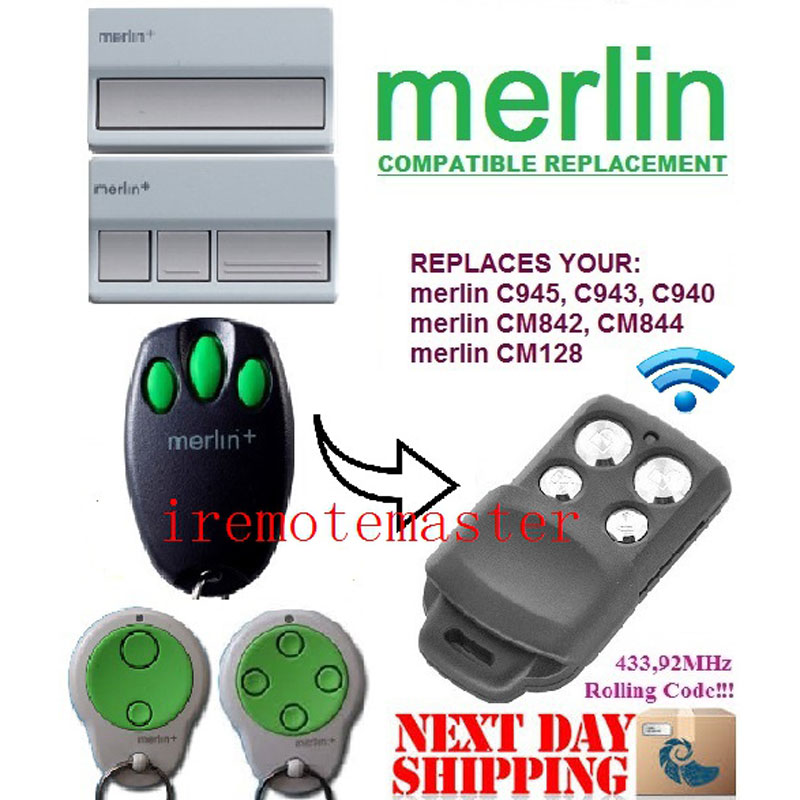 Wholesale 100 pcs Merlin+ Merlin C945 CM128 Compatible Garage/Gate Door Opener Hand Remote Control merlin smart watch m60