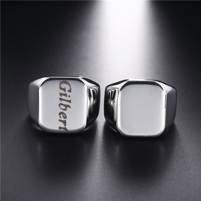 Personalized Mens Signet Rings Stainless Steel Boy Stamp Band Customize Engrave Male Jewelry Fraternal Rings Valentine Gifts(China)