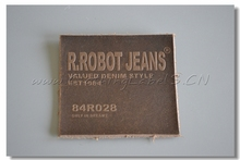 custom real leather labels for clothing, denim pants/jeans label 5.2×5.2cm