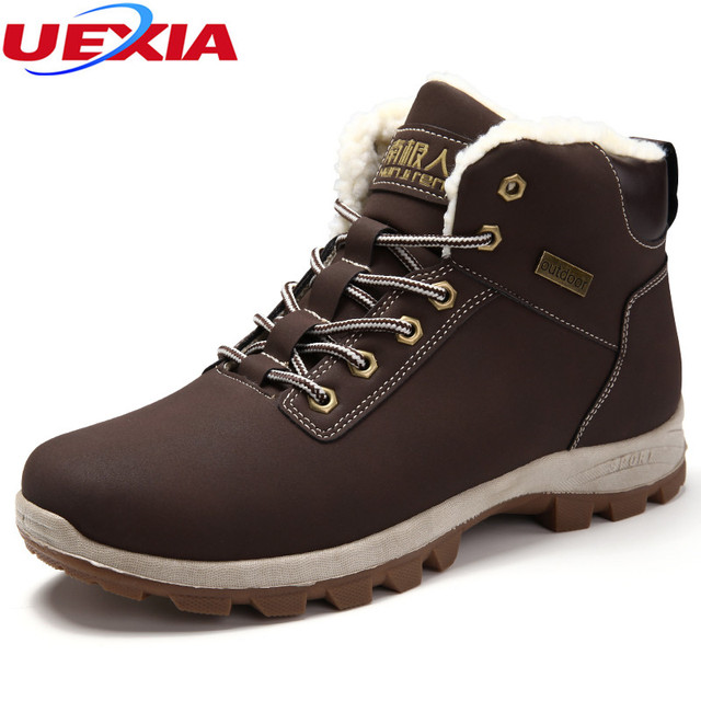 28604207896e UEXIA Bottes Botas Bot Russia Style Fashion Mens Winter Martin Ankle Snow  Shoes Outdoor Fur Super Thick Warm Plush Casual Flats