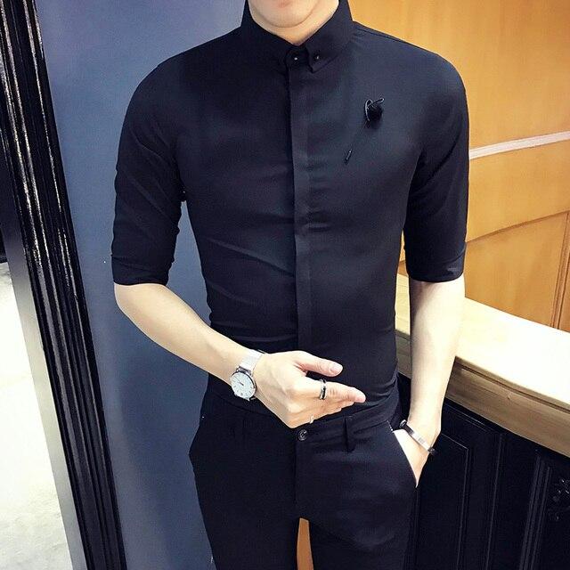 024d086c8ef Hot Sale Men Shirt Spring Summer 2018 Slim Fit Dress Shirts Mens Casual  Simple Business Formal Wear Tuxedo Shirt Men s Clothing