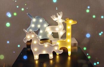Lampe lettre 3D Chapiteau Licorne Flamingo Table LED Lampe Amour Enfants de Nuit Lumière Étoile 1