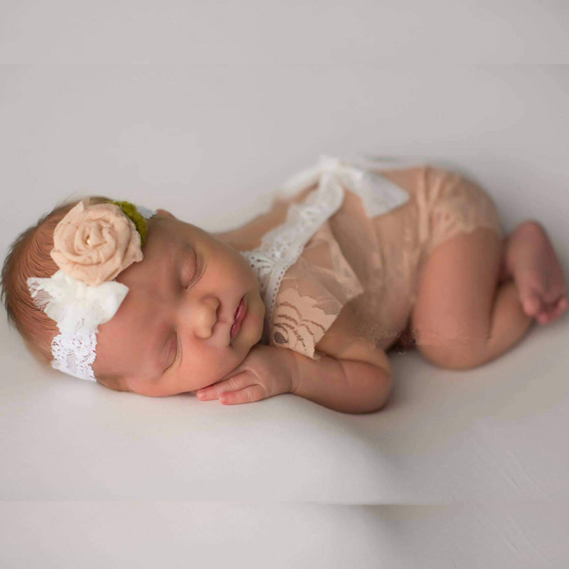 Newborn Baby Girl Bowknot Lace Romper Photography Props Princess Costumes Dress