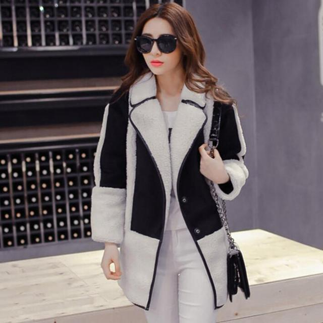 440a39b5897ce 2017 Women Leather Suede Jackets plus thick velvet padded winter coats Lamb  Wool Long outwear Jaqueta de Couro Feminina F3728