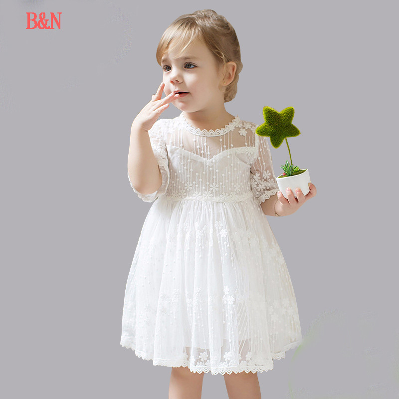 B&N Lace Half-Sleeve Children's Dresses Ball Gown Baby Girl Clothes Summer Floral Girl Dress Evening Children's Dress gf go7300 b n a3 gf go7400 b n a3