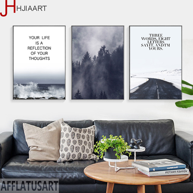 Road Foggy Forest Sea Scenery Life Poem Nature Style Picture For Living Room Bedroom Modern Canvas Painting Home Decor image