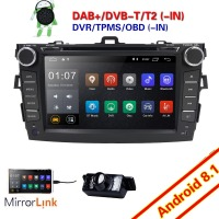For Toyota Corolla 2007 2011 2Din Android 8.1 Car DVD Player Stereo Radio GPS Navigation 8 Bluetooth WIFI DAB Touch Screen+Cam