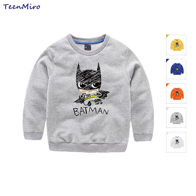 2017 New Boys Hoodies Kids Batman T Shirt Children Sweatshirt Baby T-shirt Spring Long Sleeve Cotton Tees Toddler Casual Hoody