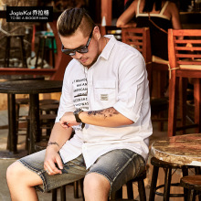 2019 New large-size short-sleeved Fashionable fat man sh, broad-skinned shirts, casual shirts.