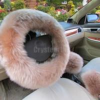 3pcs Set Universal 38cm Car Styling Steering Wheel Gear Shift Knob Handbrake Cover Winter Long Plush