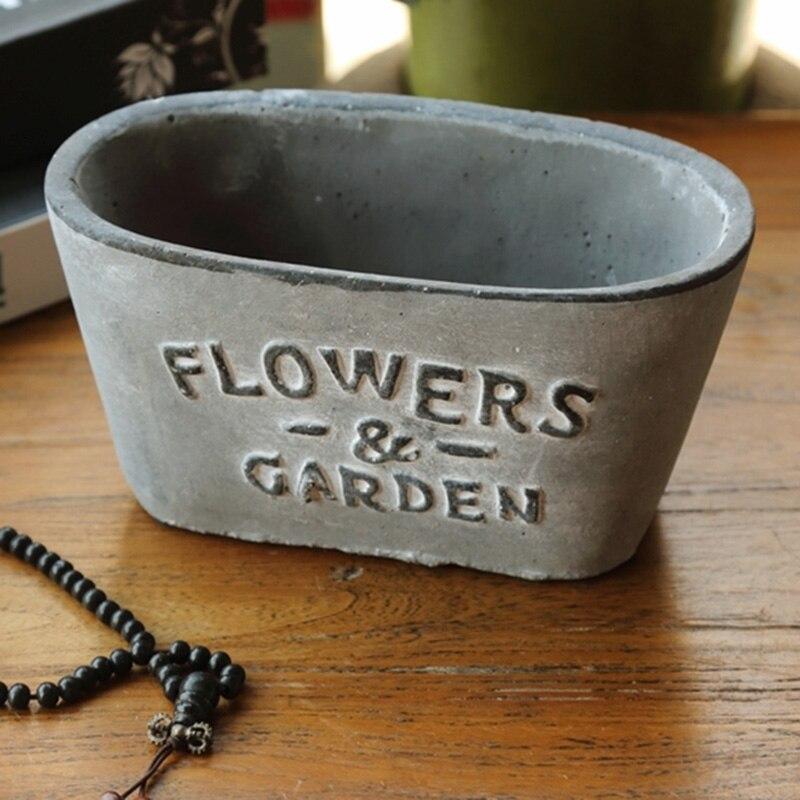 Pot de fleurs en ciment moule en silicone jardin lettres anglaises béton en pot fleur mettre en œuvre moule ménager