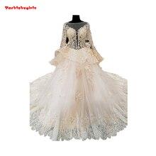 01545 Burgundy Ivory Wedding Dress Long Sleeve Train Gown