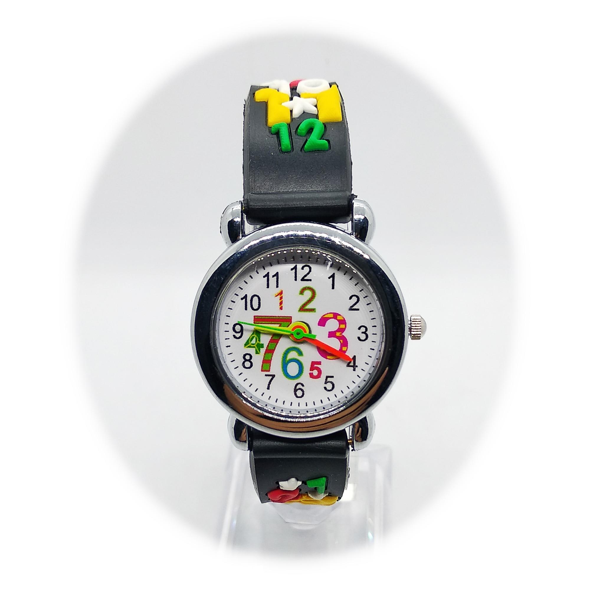 Kindergarten Student Arabic Numerals Kids Watches Black Strap Lovely Children Watch For Girls Boys Clock Child Quartz Wristwatch