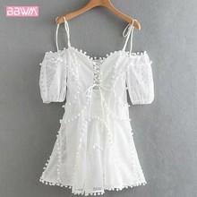 Party party mesh openwork lace female dress boutique summer women's new sweet fur ball decoration trim dress White sleeveless(China)