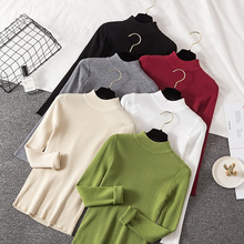 Korean Casual Knitted Women Sweaters and Pullovers Autumn Long Sleeve Thin Knit Women Sweater Solid Oversized Crop Sweater