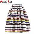 Summer Women's Striped Printed Tutu Skate Skirt Casual Female Mid-Calf Pleated Skirts Jupe Saia Longa Faldas Largas Femme Mujer