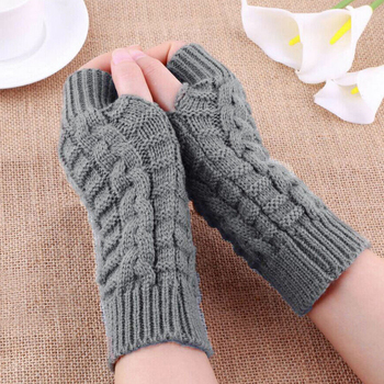 Winter Warm Gloves For Women Girls Knitted Solid Color Mittens Fingerless Thick Artificial Wool Gloves