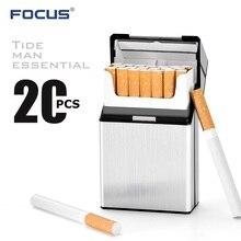 Чехол для сигарет FOCUS Upgrade Version, 20 шт., металлическая коробка для сигарет, Магнитная крышка, ультра тонкая Коробка для хранения, зеркальное дно