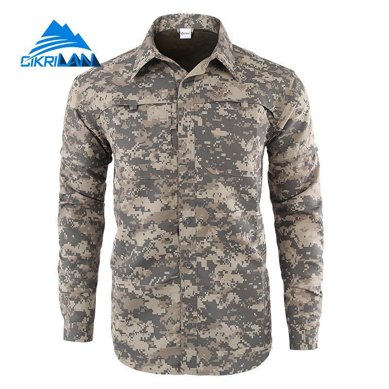 Mens Camo Quick Dry Button Down Convertible Long Sleeve Shirts Men Outdoor Sport Hiking Climbing Shirt Trekking Military Uniform