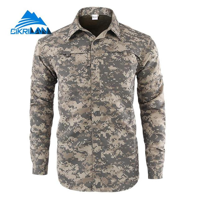 343647910bb Mens Camo Quick Dry Button Down Convertible Long Sleeve Shirts Men Outdoor  Sport Hiking Climbing Shirt