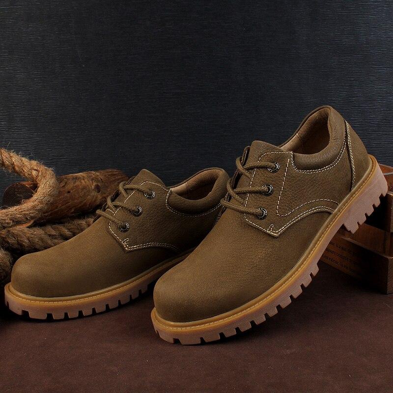 De khaki Plus Militares Casuais 2019 Sapatos Primavera Dos Couro up Homem Calçados Botas Genuíno Para Moda Ankle Golden Boot Lace Homens Size Os Trabalho qatgO
