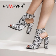 ENMAYER 2019  Genuine Leather Gladiator Women High Heel Sandals Casual Hook & Loop Summer Fashion Size 34-43 LY2090