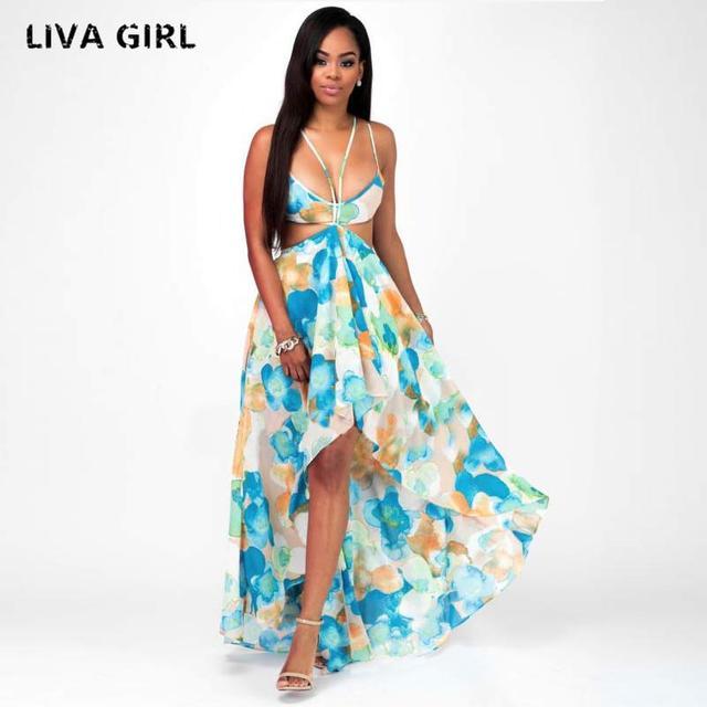 liva girl Sexy cross lace up backless print summer dress women Deep v neck  sleeveless long 38838bd88