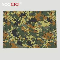Custom Soft Fleece Throw Blanket Camo Classical Germany Camouflage Pattern Forest Jungle Military Colors Dark Green Light Green