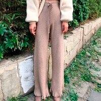 VGH Rocznika Kinitted Spodnie damskie Slim Bandaż Pełnej Długości Pochodni Spodnie Kobiece spodnie O Wysokiej Talii Luźne Ubrania Casual Nowy 2018