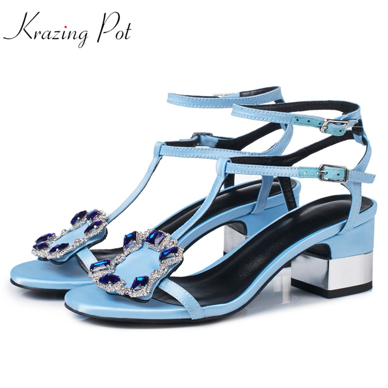 Krazing Pot 2018 new arrival silk sheep suede solid color diamond crystal buckle big size lady superstar streetwear sandals L05