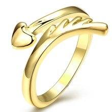 Позолоченные Сердце Кольцо Для Женщин femme Палец Кольца Кристалл Лучшие Качества Обручальное Кольцо Ювелирные Изделия Для Женщин