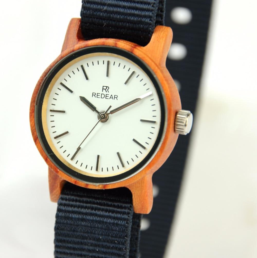 ФОТО Fashion Women Watches Natural Red Sanwalwood Watch Newest Japan Quartz Movement Wrist Watches Soft Nylon Watch Band