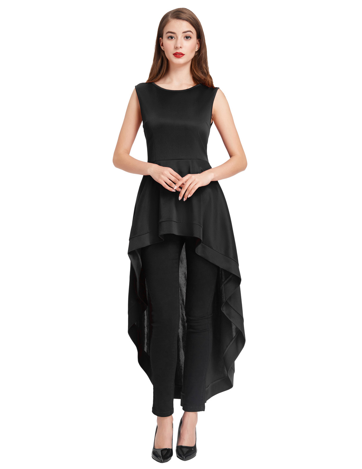 Womens Sleeveless Evening Gown Formal Crew Neck Irregular High-low Hem Dress