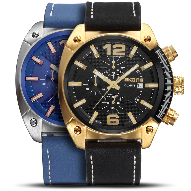2018 Men Sport Watch Chronograph Leather Strap Quartz Army Military Watches Clock Men Top Brand Luxury Male Relogio Masculino