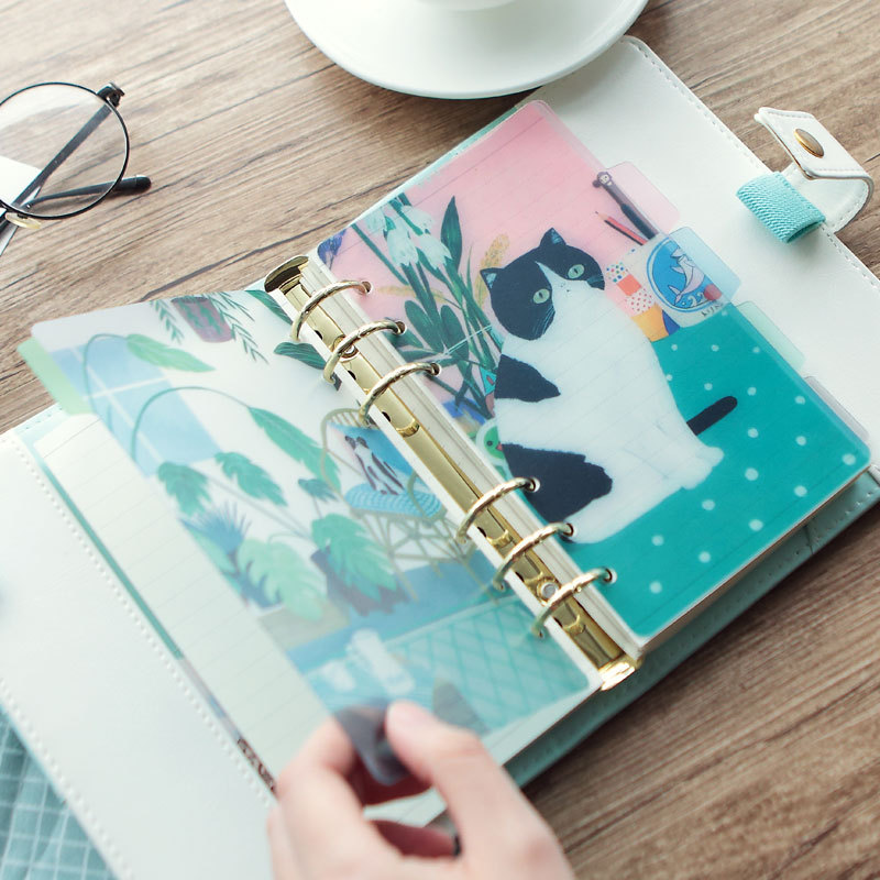 A5 A6 6 Holes Cute Bestwish Cat Girl Colored Notebook Loose Leaf Transparent PVC Separator Pages Notebook Paper Inside Pages standard a5 style leather notebook inside loose leaf page have 6 hole on page paper insde 60 pcs quality kraft blank page