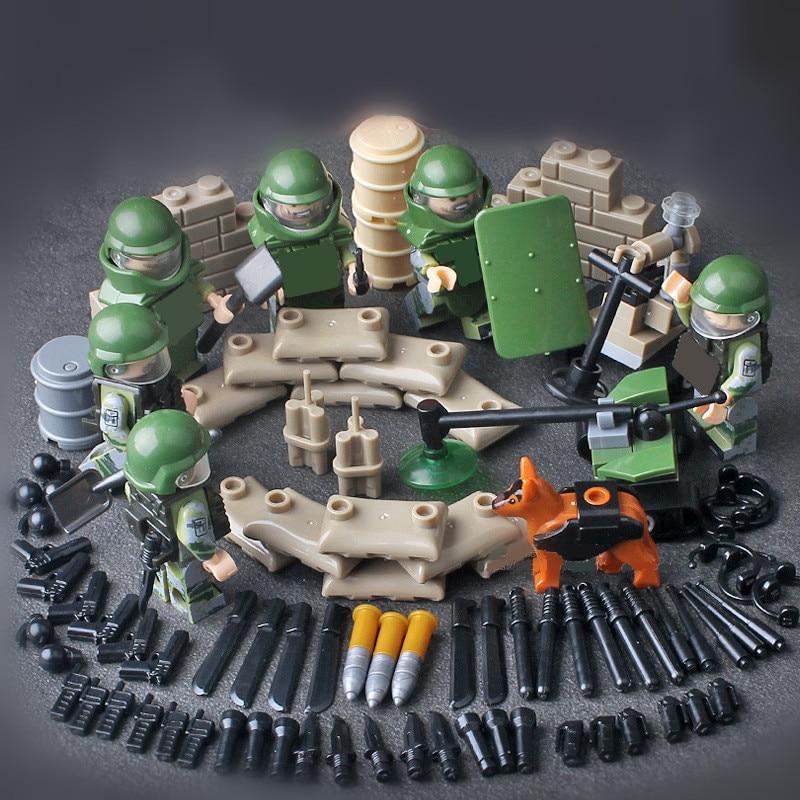 Bomb Disposal Team SWAT Squad World War Military Army Gun Weapon Soldier Building Blocks Bricks Figures Boy Toy Children Gift