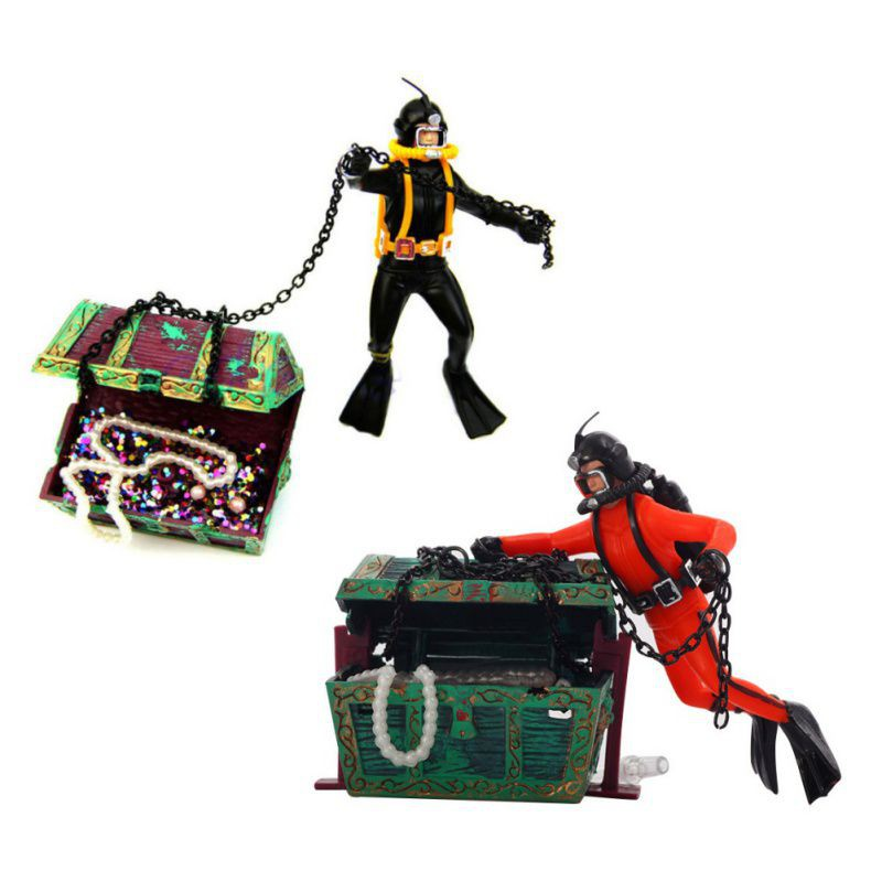 Fish Tank Decorations Home Decor Treasure Hunter Diver Action Figure Aquarium Landscape Diver Hunter Treasure Chest 2018