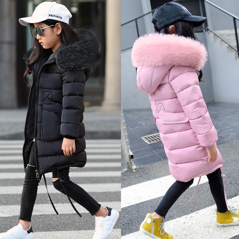 2018 New Girls Long Padded Jacket kids Winter Coat Kids Warm Thickening Hooded down Coats For Teenage Outwear 30 winter coat
